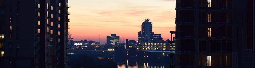 River Irwell during sunset, Manchester, UK